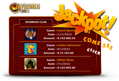 Top Jackpots at Silversands Casino.